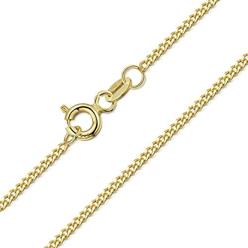 Amberta Joyería Collar en Oro Amarillo 9K - Cadena Barbada 1.4 mm - Gargantilla Ajustable de 46 a 51 cm