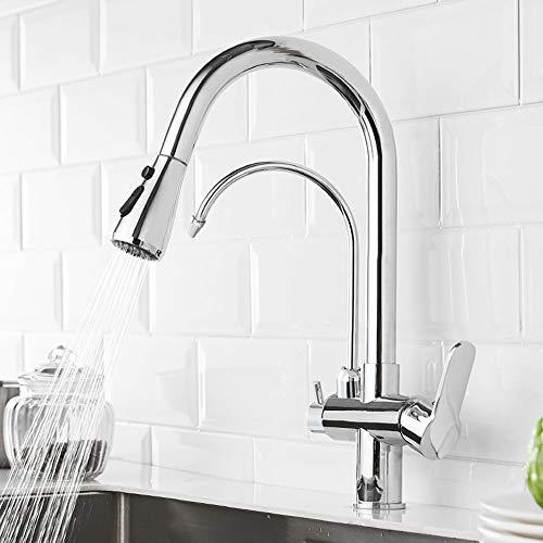 DSJSP G1/2 Moderno 3 en 1 filtro purificador grifo de la cocina doble manija extracción fregadero agua fría caliente (plata)