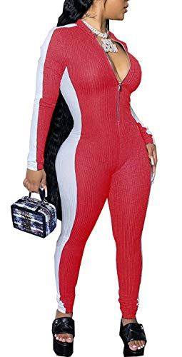 Sprifloral Women Sexy High Neck Long Sleeve Bodycon Ripped Leggings Tie Dye One Piece Jumpsuit Romper Blue Medium