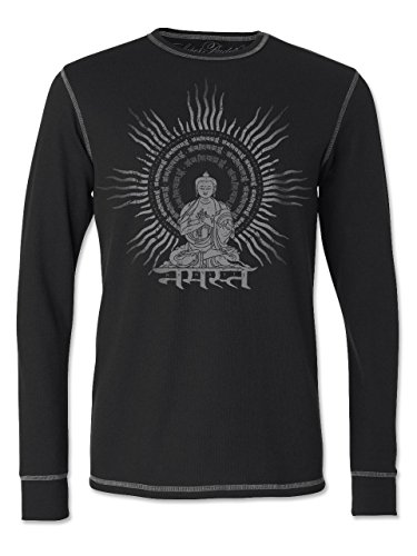 Super Buddha Men's'Radiant Buddha' Soft Blend Lite Long Sleeve Thermal, Black, Large