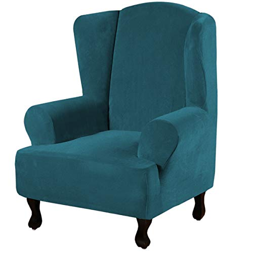 Wing Chair Cover Wing Back Arm Chair Furniture Cover Wing Chair Slipcovers Sofa Cover Velvet Plush High Stretch Slip Resistant Fabric 1 Piece with Elastic Bottom, Wing Chair - Deep Teal