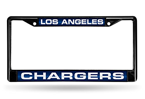 NFL Rico Industries Laser Cut Inlaid Standard Chrome License Plate Frame, Los Angeles Chargers