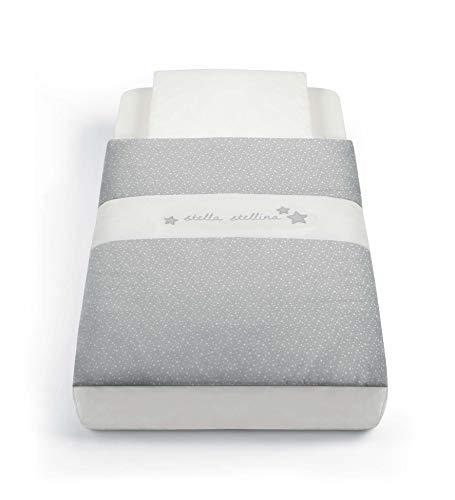 CAM Textile pour lit d'appoint Cullami | Gigoteuse confortable avec housse de coussin | 100 % coton (étoiles grises)