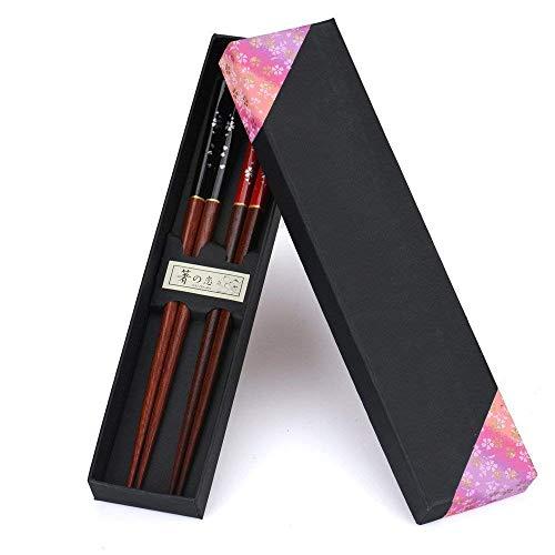 Juego de 2 pares de palillos Palillos de naturaleza japonesa de caja de madera ecológica en caja de regalo noble (Ciruela roja y negra)