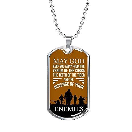 Express Your Love Gifts Colar May God Keep You Away de aço inoxidável ou ouro 18 k com corrente de 61 cm