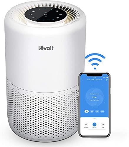 LEVOIT Purificador de Aire Inteligente WiFi con Filtro HEPA, Compatible con Alexa, CADR 170m³/h, Elimina 99,97% de Alergia Tabaco Polen Ácaros Olor y Caspa de Mascota, 24dB Modo de Sueño, Core
