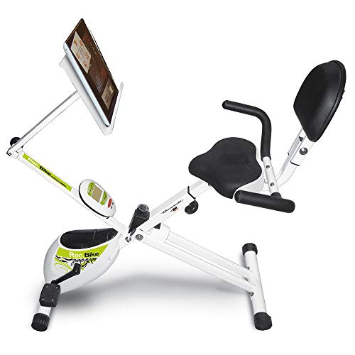 Tecnovita Rec-Bike Folding Exercise Bike Stand for Unisex Adult Reading, White