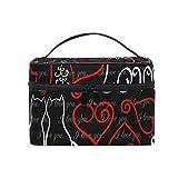 Bolsa de maquillaje Ahomy, diseño de gato, corazón, bolsa de aseo portátil para mujeres y niñas