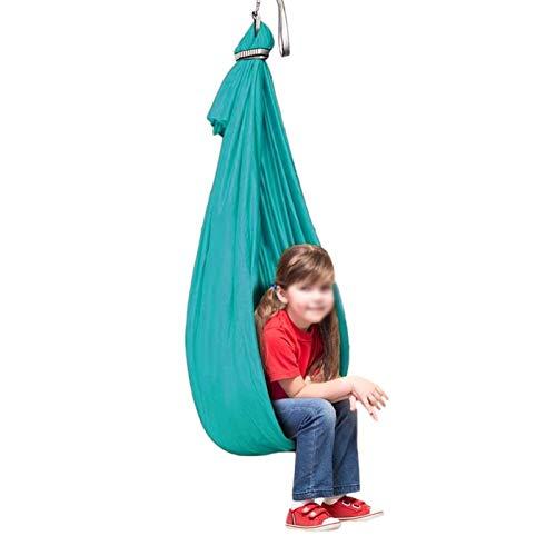 Columpio de Silla de Hamaca (Giratorio De 360 °) con Más Necesidades Especiales Hamaca de Abrazo Ideal Para Autismo, TDAH, Aspergers E Integración Sensorial Hamacas Verde ( Size : 100x280cm/39x110in )