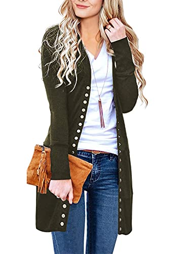 MEROKEETY Women's Long Sleeve Snap Button Down Solid Color Knit Ribbed Neckline Cardigans Army Green