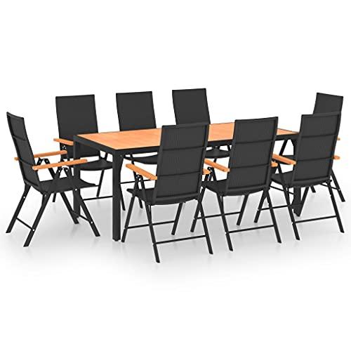 vidaXL Juego de Comedor para Jardín 9 Piezas Mobiliario Muebles Exterior Terraza Balcón Cocina Mesa Silla Asiento Estable Negro y Marrón