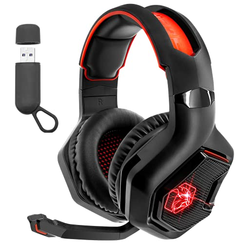 EMPIRE GAMING – WarCry P-W1 Casco Gamer Inalámbrico con Micrófono -PC/PS4/PS5/Xbox/Nintendo Switch/Mac2,4 GHz Wireless - Sonido Estéreo Surround -LED Roja