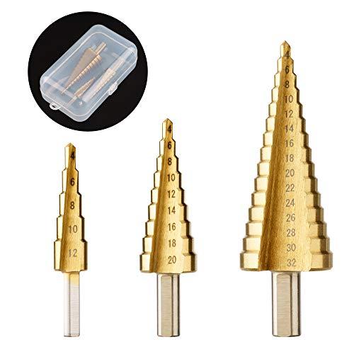Surplex HSS Stufenbohrer Satz, 3pcs Kegelbohrer Stufenbohrer, 4-12/4-20/4-32 mm, für Stahl, Holz, Kunststoff