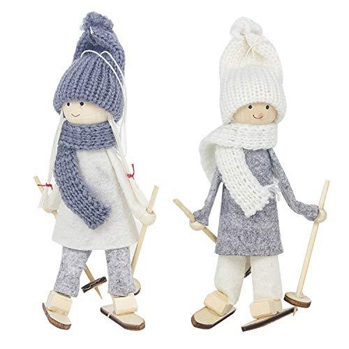 Gosear 2pcs Decoraciones para árboles de Navidad, pequeño Lindo Encantador de Lana de Navidad muñecas de esquí...