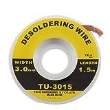 Seguridad 5 pies. 3 mm BGA Desoldador Alambre Trenzado Soldador Removedor Mecha Soldadura Accesorio Metal Color Tin TU-3015