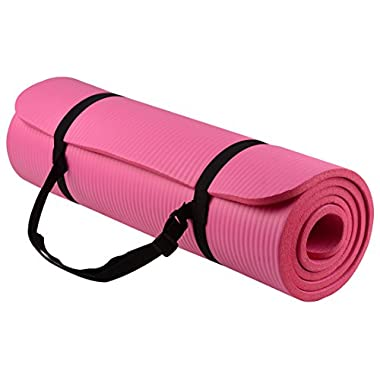 BalanceFrom Go Yoga All Purpose Anti-Tear Exercise Yoga Mat with Carrying Strap, Pink