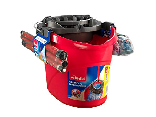 Vileda SuperMocio Set Mocio con Manico, Secchio, Fiocco 3Action XL, Strizzatore Torsion Power, Rosa, 45 x 33 x 32 cm