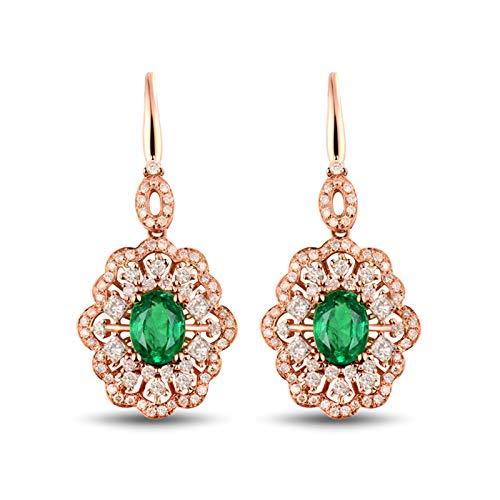 ANAZOZ Pendientes Verde Esmeralda Mujer,Pendientes Mujer Oro Rosa 18 Kilates Oro Rosa Verde Flor con Esmeralda Verde 1.62ct Diamante 1.15ct