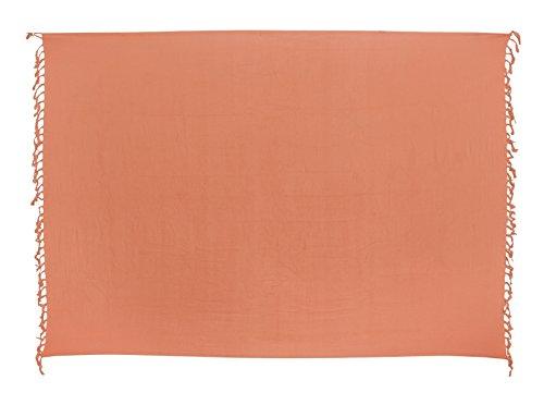 Sarong Pareo Wickelrock Strandtuch Tuch Wickeltuch Handtuch - Blickdicht - ca. 170cm x 110cm - Lachs Einfarbig Handgefertigt inkl. Kokos Schnalle in Fischform