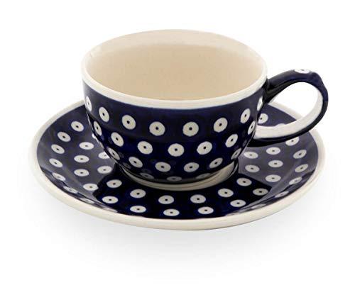 Original Bunzlauer Keramik - klassische Kaffee und Tee Tasse mit Untertasse 0.21 Liter im Dekor 42