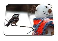 22cmx18cm マウスパッド (トムティット鳥雪だるまスカーフ雪冬) パターンカスタムの マウスパッド
