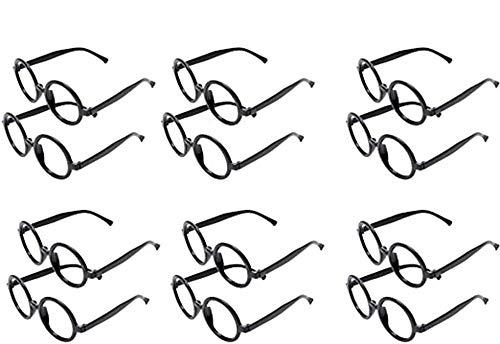 12 Gafas de Magos de Plástico Marco de Gafas Redondo para una Fiesta de Harry Potter (negro)