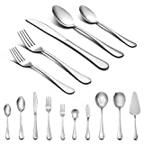 LIANYU 45-Piece Silverware Set with Serving Pieces, Stainless Steel Cutlery Flatware Set Service for 8, Mirror Finish, Dishwasher Safe