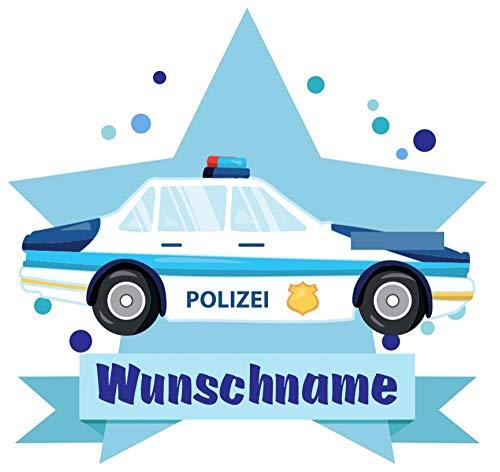 Samunshi Polizeiauto Aufkleber Mit Namen Autoaufkleber Namensaufkleber Kinder In 7 Größen 15x13 1cm Mehrfarbig Küche Haushalt