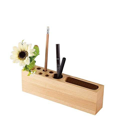 Yhtech Material de Oficina Caja de almacenamiento de escritorio papelería sólidos titulares de la pluma de madera, teléfono móvil portalápices soporte de madera 10 ranuras Organizador de escritorio fo
