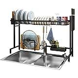 Lavavajillas Tendedero, fregadero estante superior del fregadero de acero inoxidable plato escurridor rack de almacenamiento en rack piscina suministros de cocina, 91X27X45