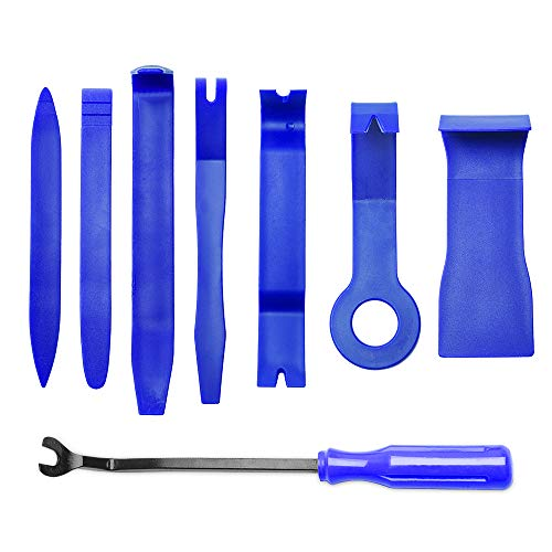 MICTUNING 8PCS Auto Trim Removal Tool Set for Car Audio Dash Door Panel Window Molding Fastener Remover Tool Kit (Blue)