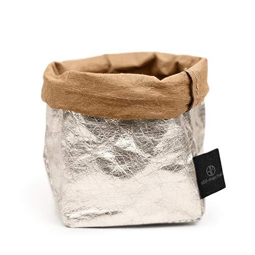 stil-macher Designer Krempelkorb | Gr. S | Aufbewahrungskorb aus waschbarem Papier | Lederoptik | VEGAN | Deko-Box | Geschenkbox | Übertopf | 9cm x 9cm x16cm … (Silber)