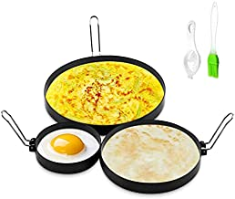 CAREUD 4 Inch Stainless Steel Egg Ring, 6 Inch Non Stick Pancake Ring, 8 Inch Omelet Ring, 3 Pack Egg Poacher Fried Round Egg Cooker Maker Mold for English Muffins with Oil Brush and Egg Separator
