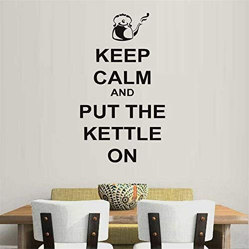 lanken Vinyl Wall Decals Quotes Sayings Words Art Decor Lettering Vinyl Wall Art Keep Calm and Put The Kettle On Quotes for Drinking Room Decoration