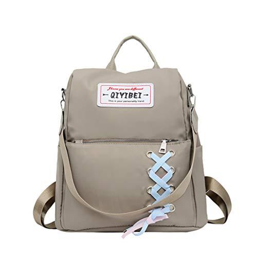 DOFENG Damen Volltonfarbe Bandage Oxford Rucksack Umhängetasche Daypack Schultaschen Reiserucksack Tagesrucksack Handtaschen für Schule Reise Arbeit (Grau, Eine Größe)