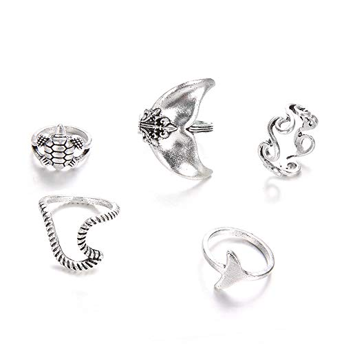 Dragonface Anelli d'Epoca per Le Donne Boho Geometrica Argento Turtle Whale Tail Waves Ring Set snodo Waves Finger Fascino Squilla i monili 5pcs / Set