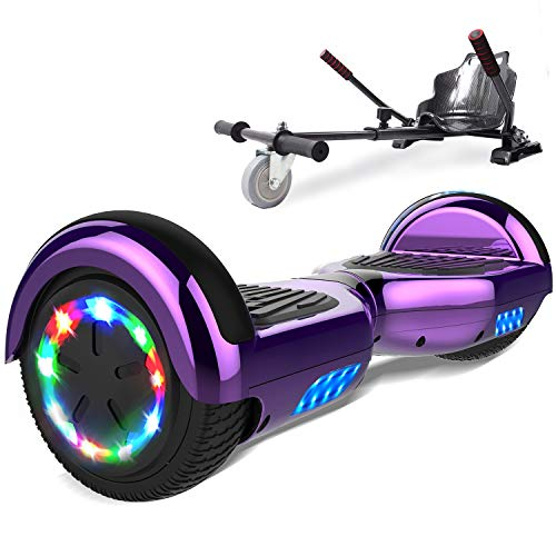 SOUTHERN-WOLF Hoverboard go Kart, Self Balance Scooter with Hoverkart 6.5 Inches Hoverboards for kids LED with Lights and Bluetooth Speaker Best Gifts for Kids Self Balancing Scooter 6.5'(Purple)