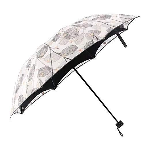 Yi-xir Experiencia Confortable Bordado de Encaje Protección UV Protector Solar Sunshade de Vinilo Paraguas de Viaje Compacto (Color : Gray)