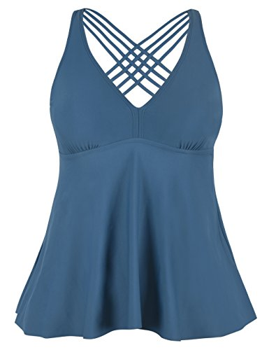 Firpearl Women's Tankini Swimsuits Cross Back Flowy Swim Tops Modest Swimwear US18 Aquamarine Blue