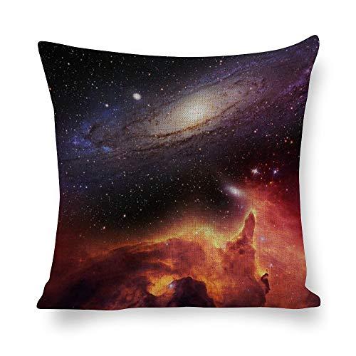 Kissenbezug aus Baumwollleinen, Fantasie-Universum, Galaxie-Weltraum, orangener Nebel, dekorativer Kissenbezug für Schlafzimmer, Sofa, mit unsichtbarem Reißverschluss, 45,7 x 45,7 cm