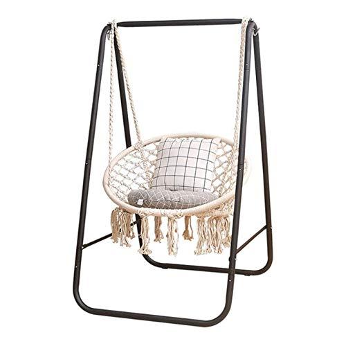N/Z Living Equipment Schaukelstühle Nordic Lazy Indoor Hängekorb Home Wohnzimmer Cradle Swing Quaste Hängesessel (Farbe: Weiß Größe: 60x80cm)