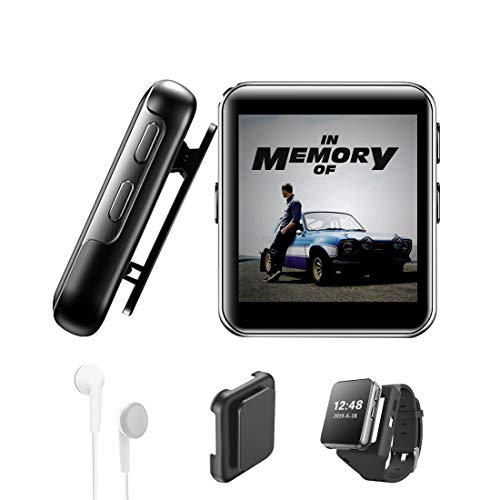 32GB Clip MP3 Player with Bluetooth, Sports Watch MP3 Player with Touch Screen, Mini MP3 Player with Headphones,Voice Recorder,E-Book,HiFi Lossless Sound Music Player for Running, 1.5 Inch,Black