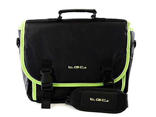 Negro & Verde Trim Messenger Style–Bolsa para Lenovo IdeaPad Yoga 11Tablet & Cover