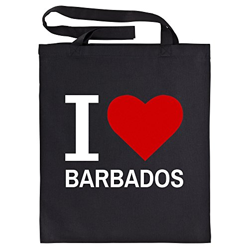Katoenen tas Classic I Love Barbados zwart - grappig grappig spreuken party boodschappentas