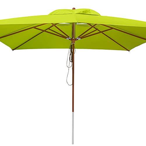 anndora® Sonnenschirm 4 x 4 m quadratisch Holz Gestänge - Apfelgrün