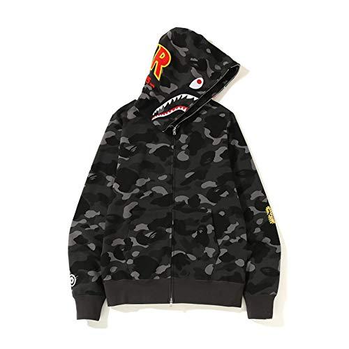 Best Shark Head Classic Hood Camouflage Felpa Moda Maglione Street Hot Jacket Nero Colore M