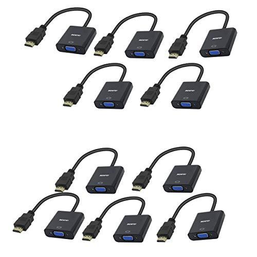 BENFEI Adaptador HDMI a VGA 1080P Convertidor de Vídeo para PC, TV, Ordenadores Portátiles y Otros Dispositivos HDMI - Negro,10 Paquete