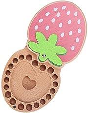 Baby Tooth Box Organizador de almacenamiento de madera con forma de fresa personalizada en primer diente con tarjeta de información