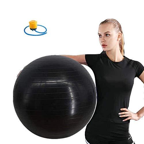 Yoga Ball Übungen Gymnastikball 95cm Schwarz Anti-Burst Stabilität Entbindungs Kugel Swiss Ball mit Fußpumpe for Home Gym Bürostuhl Pilates Fitness Weight Loss Gleichgewichtstraining Geburt Assisted