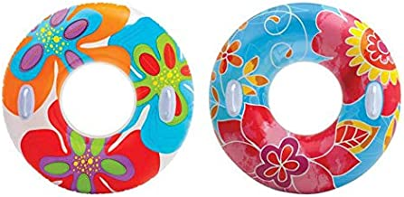 INTEX Groovy Color Inflatable Flower Transparent Tube Raft (Set of 2) | 58263EP - Colors may vary